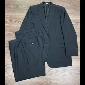 Brioni Solid Black Super 150s Suit 46L Long